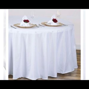 """120"""" Round White Tablecloths (7 total) Never Used!"""